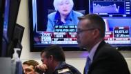 An der New York Stock Exchange lauschten die Börsianer den Worten Janet Yellens.