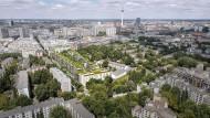 Mischung aus Eigentums- und Sozialwohnungen: Der Luisenpark in der Bildmitte, geplant im Zentrum Berlins