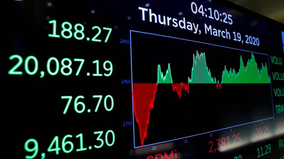 Dow-Kurstafel an der New Yorker Börse