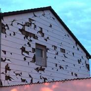 Hagel hatte dieses Haus während eines sommerlichen Unwetters in Bayern beschädigt