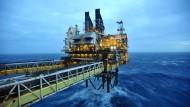 Eine britische Ölplattform rund 100 Meilen vor der Küste von Aberdeen