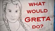 Ein Poster zeigt die Klima-Ikone Greta Thunberg