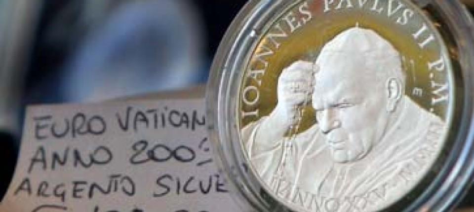 Münzenbriefmarken Gedenken An Den Papst In Gold Silber Und Euro