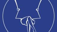 FAZ-Logo Frau weiß auf blau