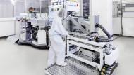 Von Singulus hergestellte Maschine für Solar-Beschichtungen