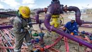 So sieht der Frackingvorgang vor Ort aus: hier in Colorado, USA