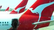 Eine Maschine der australischen Fluggesellschaft Qantas