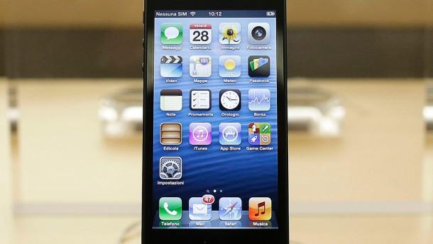 File picture shows an Apple iPhone 5 on display in an Apple store in Rome