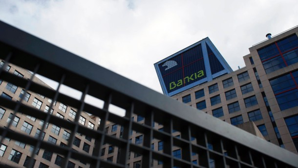 The headquarters of Spanish nationalized lender Bankia is pictured in Madrid