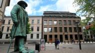 "Die norwegische Notenbank ""Norges Bank"" befindet sich in der Hauptstadt Oslo."