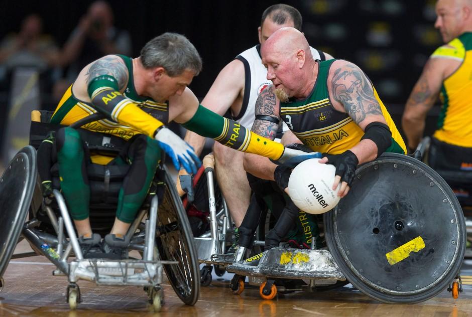 Jeff Wright (re) von der australischen Rugby-Mannschaft in Aktion beim Rollstuhl-Rugby Match zwischen Australien und Neuseeland.