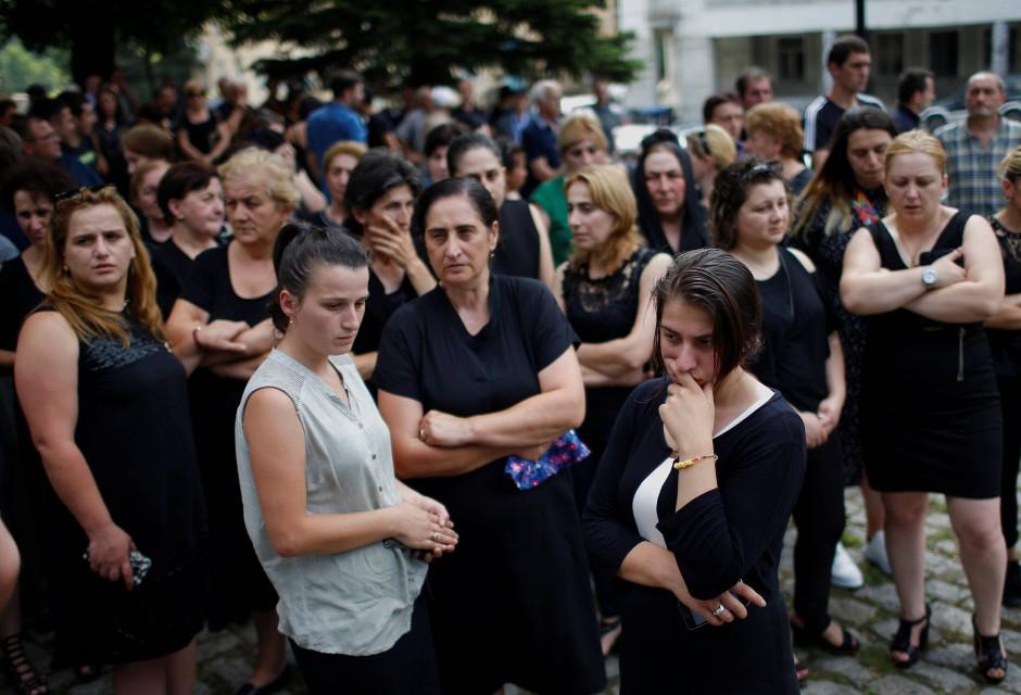 Trauerfeier für die Bergleute, die bei dem Grubenunglück ums Leben gekommen sind.