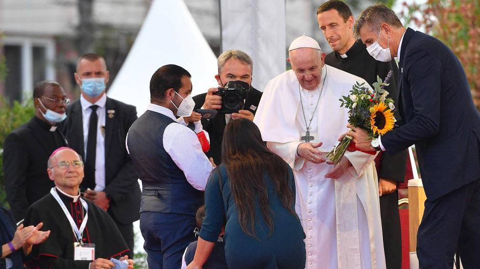 Papst Franziskus am Dienstag in der Roma-Siedlung in Košice