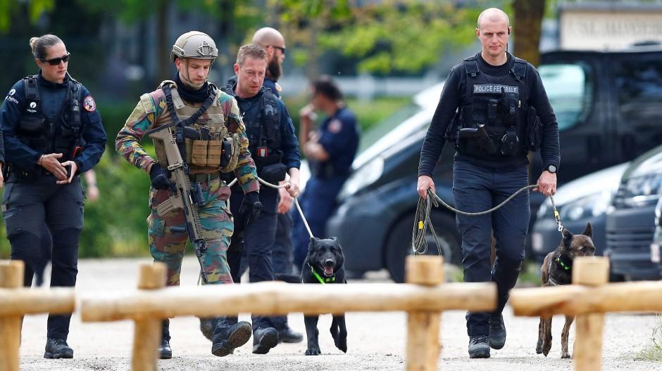 Mitglieder der belgischen Armee und Polizei am Nationalpark Hoge Kempen am Donnerstag