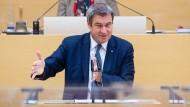 Der bayerische Ministerpräsident Markus Söder (CSU) am Mittwoch bei einer Regierungserklärung zur Pandemiepolitik im Landtag in München