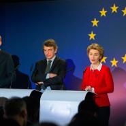 EU-Kommissionspräsidentin Ursula von der Leyen beim gemeinsamen Auftritt mit Ratspräsident Charles Michel und Parlamentspräsident David Sassoli am 31. Januar 2020 in Brüssel.
