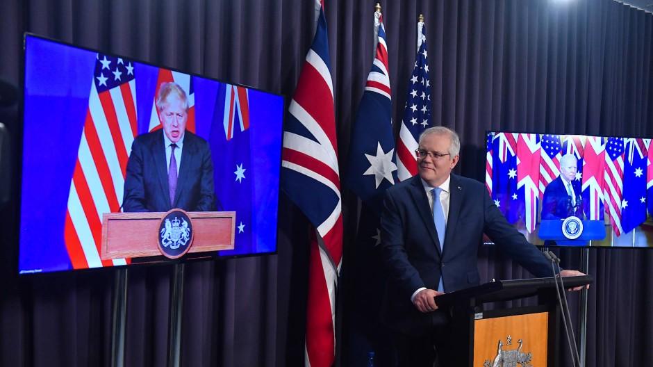 """""""Historischer Schritt"""": Die Regierungschefs Großbritanniens, Australiens und der Vereinigten Staaten zum neuen Sicherheitspakt"""