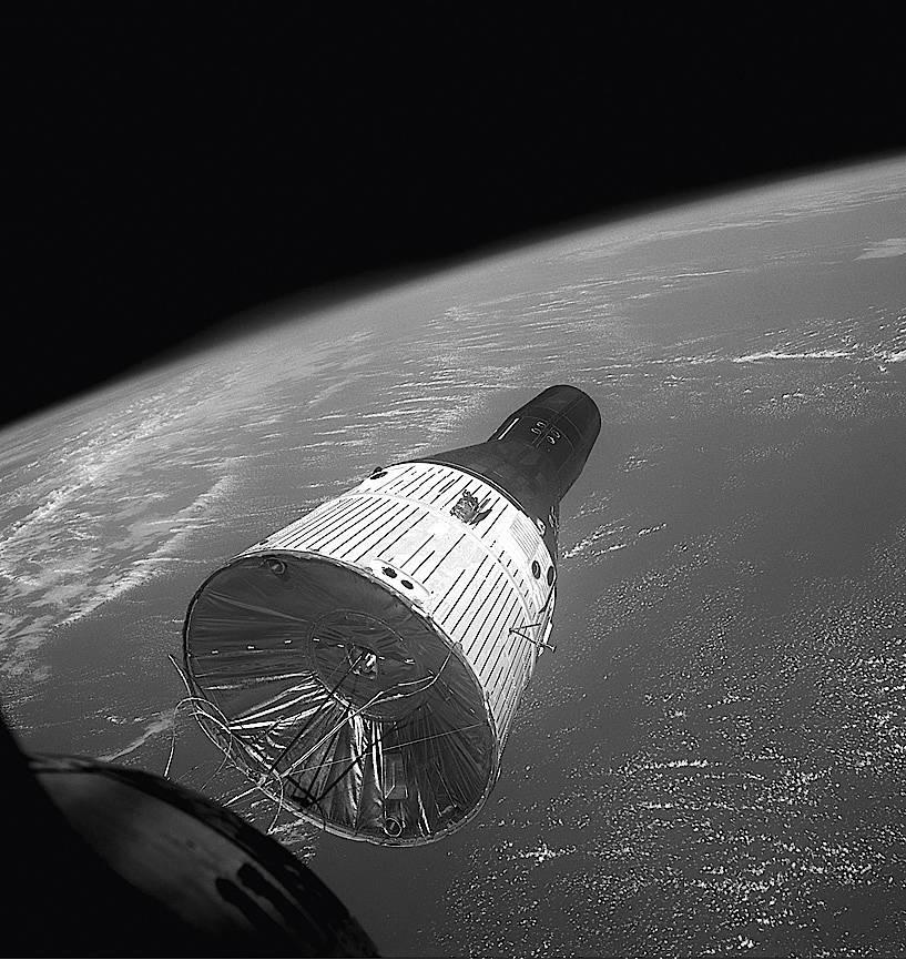 Gemini 7 im Dezember 1965: James Lovell und Frank Borman waren mit dem Raumschiff fast 14 Tage im All. Das war damals einen Langflug-Rekord.