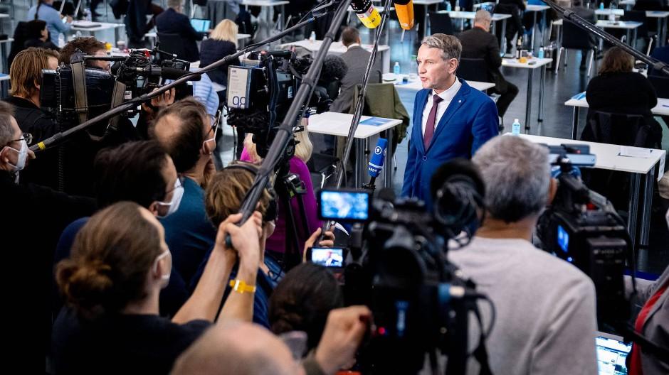 Björn Höcke beim Bundesparteitag der AfD in der Dresdner Messehalle am Samstag