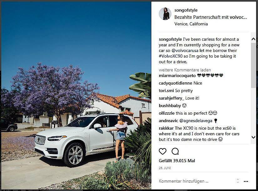 """""""Bezahlte Partnerschaft"""": Werbepost der amerikanischen Modebloggerin Aimee Song"""