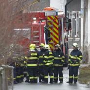Rettungskräfte während der Löscharbeiten im tschechischen Vejprty