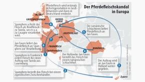 Karte / Der Pferdefleischskandal in Europa