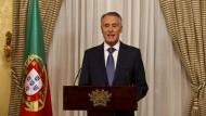 Portugals Präsident Anibal Cavaco Silva während seiner Rede an die Nation.