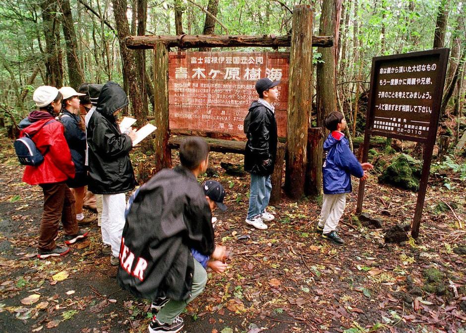 Japaner stehen im Wald am Fuße des Berges Fuji vor einem Schild, das vor Suizid warnt (Archivbild). Seit vielen Jahren nehmen sich Menschen in diesem Wald das Leben. Logan Paul ging mit einer Kamera hinein.