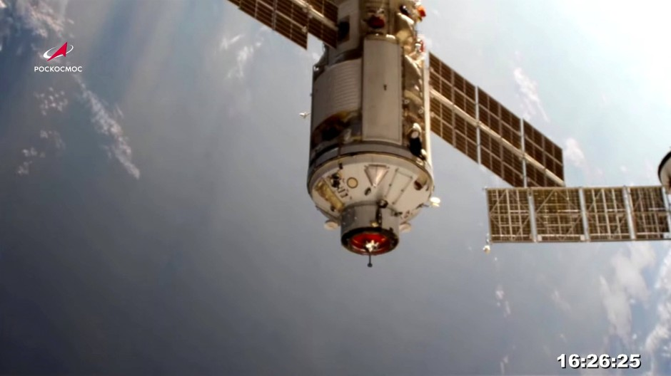 """Das """"Nauka""""-Labor beim Andocken an die ISS"""