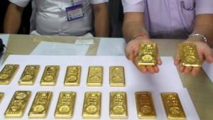 Goldbarren auf der Flugzeugtoilette