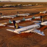 Wie Lego-Spielzeug: Im australischen Alice Springs warten Flugzeuge auf ihre Rückkehr in den Linienverkehr.