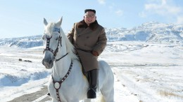 Kim reitet auf weißem Pferd an chinesischer Grenze
