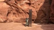 Rund drei Meter hoch: Rätselhafte Stele in Utah