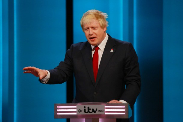 """Former Mayor of London Boris Johnson gestures during the """"The ITV Referendum Debate"""" at the London Television Centre in Britain"""