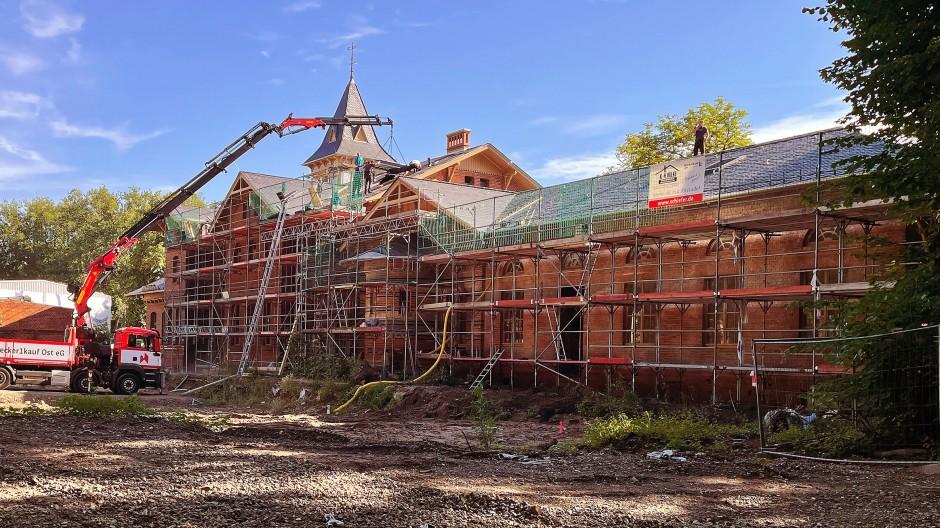 Arbeit am Baudenkmal: Ein ehemaliges Ausflugslokal in Brandenburg, das Eierhäuschen im Plänterwald. Die Eröffnung ist für 2022 geplant.
