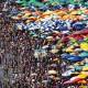 Ziemlich voll hier: Menschen am Strand in Lima
