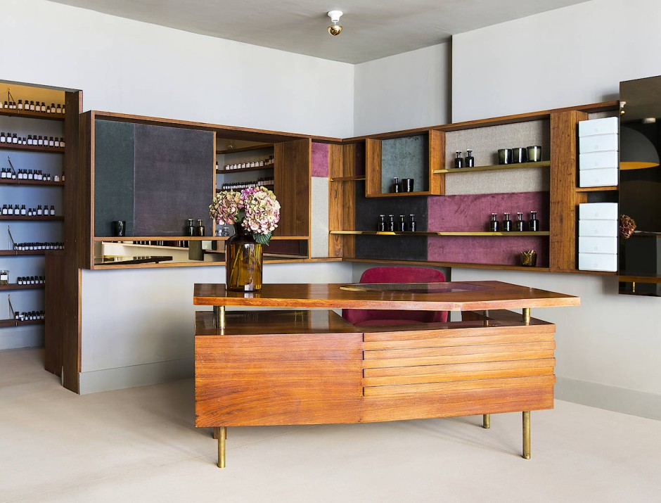 Sinnliche Materialien verwendete Harris auch für die Einrichtung ihres Shops in London.