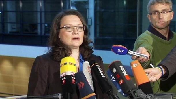 Für das Rentenpaket, mit dem sich die SPD für die Bundestagswahl aufstellt, erwartet Generalsekretärin Nahles eine große Mehrheit.