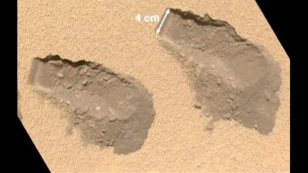 """Bei den jüngsten Bodenproben des Mars-Rovers """"Curiosity"""" entdeckten die Wissenschaftler Spuren von Kohlenstoff-Verbindungen."""
