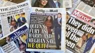 Zimperlich war die britische Boulevardpresse noch nie – auf  den royalen Rückzug von Prinz Harry und seiner Frau Meghan reagiert sie deutlich.