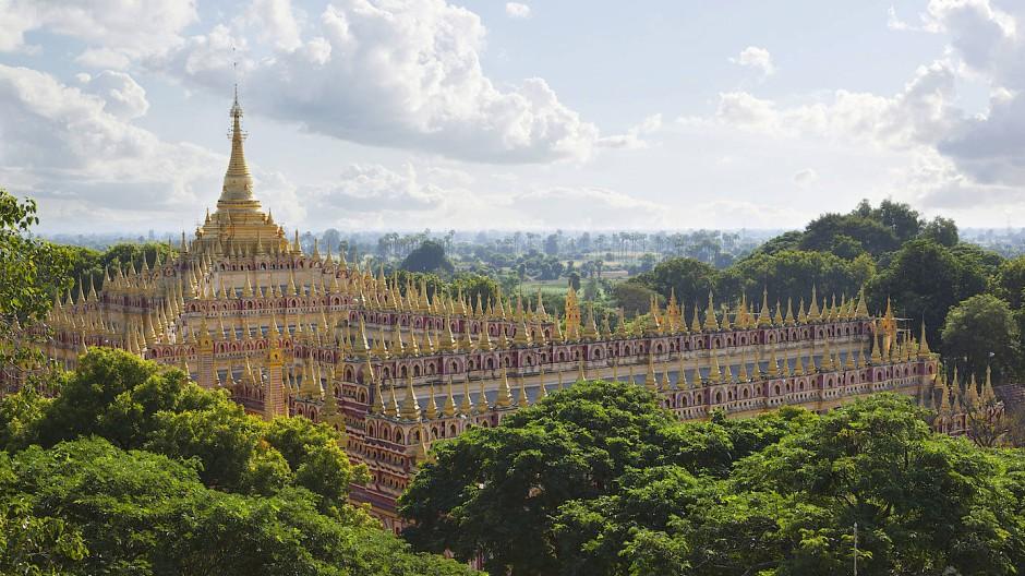 Das Neuschwanstein Burmas: Die Thanboddhay-Pagode.