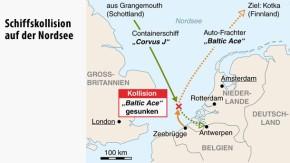 Infografik / Karte / Schiffskollision auf der Nordsee