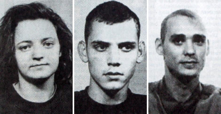 """Die Mitglieder der Terrororganisation """"Nationalsozialistischer Untergrund"""": Beate Zschäpe, Uwe Böhnhardt und Uwe Mundlos"""