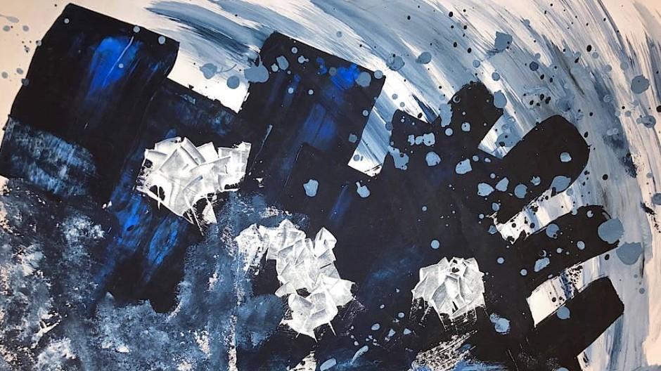 Innenwelt als dunkelblaues Farb-Gemetzel: Acrylbild von Christopher König