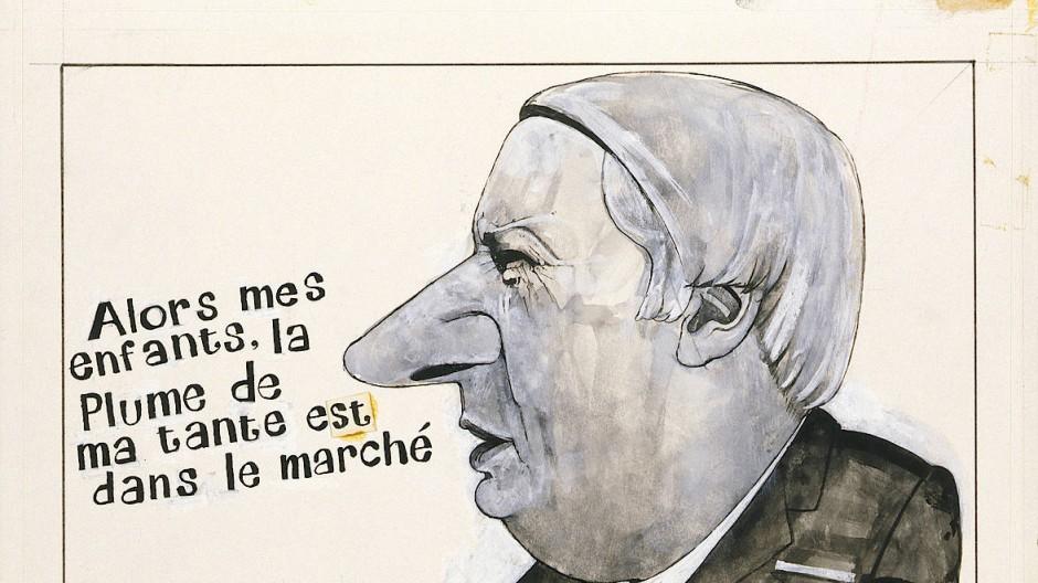 """Der Französischunterricht, den Premierminister Edward Heath auf dieser Karikatur von Barry Fantoni mit dem Beitritt zur Europäischen Gemeinschaft verknüpft, hatte Wirkung: 1975 stimmten 67 Prozent der Briten mit """"Oui""""."""