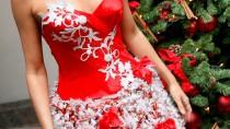 Wenn es bei der Weihnachtsfeier Cocktails statt Glühwein gibt, muss auch die Garderobe dementsprechend angepasst werden. Wie wäre zum Beispiel ein Kleid mit Schokokugeln am Rock?