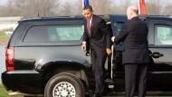Für ihn machen sie den Weg frei: Barack Obama, Präsident der Vereinigten Staaten von Amerika.