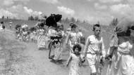 """Szene der """"Nakba"""": Palästinenser auf der Flucht im Jahr 1948"""