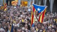 Viele Menschen in Katalonien wollen über ihre Unabhängigkeit abstimmen - und protestieren dafür, hier in Gerona im September