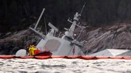"""Norwegische Fregatte """"Helge Ingstad"""" fast komplett versunken"""